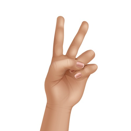 human touch: Victory Peace Sign Gesture Hand Isolated on White Background