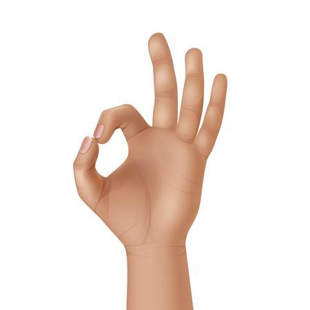 OK Teken Gebaar hand op een witte achtergrond