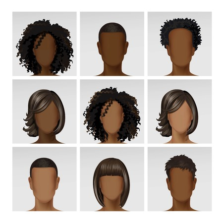 etnia: Vector multinacionales Hombre Mujer Cara del avatar del perfil Cabezas con multicolores Pelos icono de imagen en conjunto aislado en el fondo