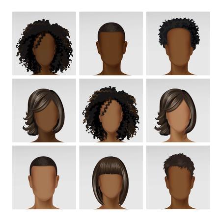 Vector Multinationale Man Vrouw Gezicht Avatar Profiel Heads met veelkleurige Haren Icon Picture Set geïsoleerd op achtergrond Stock Illustratie