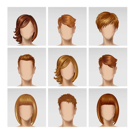 multinational: Vector Multinational Male Female Face Avatar Profile Heads with Multicolored Hairs Icon Picture Set Isolated on Background