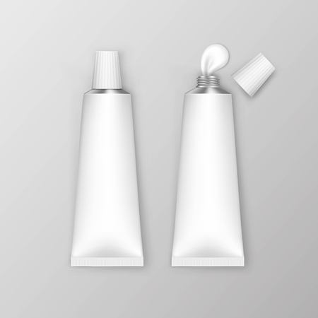 aftershave: Blank White Tubes Isolated on Background Vector