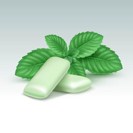 goma de mascar: Vector de goma de mascar con hojas de menta fresca aisladas sobre fondo blanco