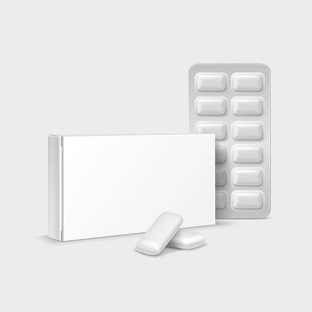 Vector Pack of Chewing Gum Isolated on White Background  イラスト・ベクター素材