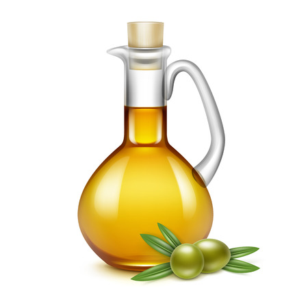 pitcher: Olive Oil Glass Jug Pitcher Jar Bottle with Olives Branches on Leaves Isolated on White Background Illustration