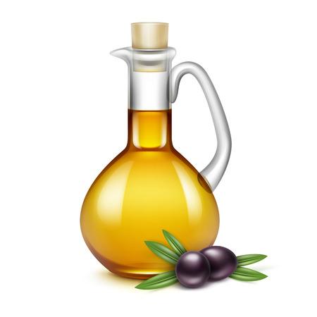 huile: Huile d'olive en verre Jug Pitcher Jar Bouteille avec Branches Olives sur feuilles isolé sur fond blanc