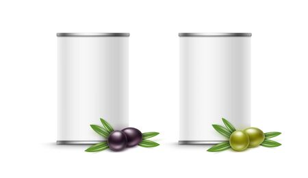 Olives tin can packaging. Vector illustration isolated on white