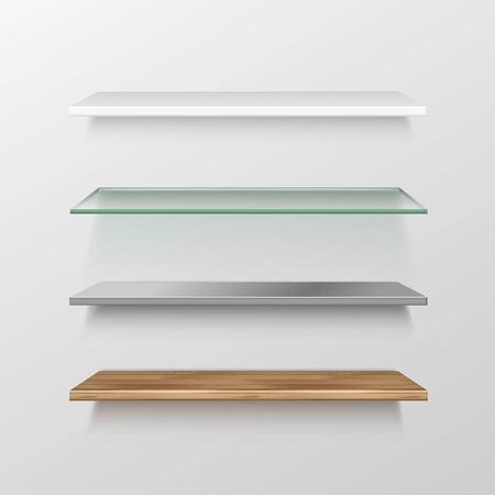 Set of Empty Wood Glass Metal Plastic Shelf Shelves