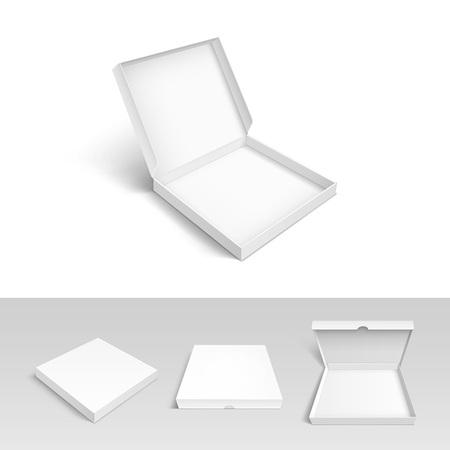 pizza box: Caja de pizza Embalaje de cartón Embalaje conjunto aislado en el fondo blanco