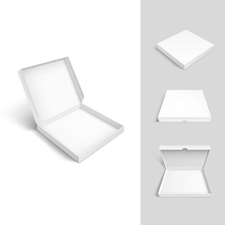 box open: Pizza Box Cardboard Packaging Package Set Isolated on White Background Illustration