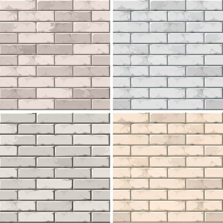 old square: Set of Brick Seamless Textures Patterns Wall Backgrounds Illustration