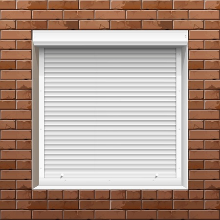 shutters: Vector Window with Rolling Shutters on a Brick Wall