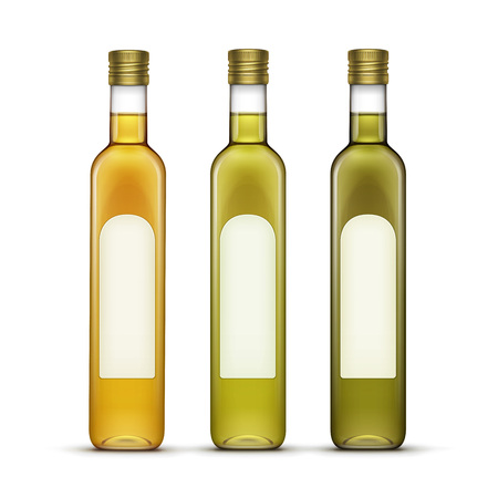 Vector Set of Alcohol Alcoholic Beverages Drinks Whiskey or Sunflower Olive Oil Glass Bottles Isolated on White Background