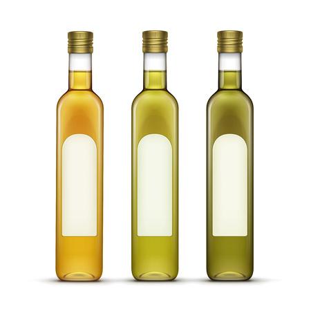 olive oil bottle: Vector Set of Alcohol Alcoholic Beverages Drinks Whiskey or Sunflower Olive Oil Glass Bottles Isolated on White Background Illustration