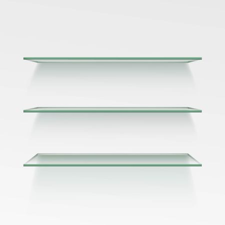 Empty Glass Shelf Shelves Isolated on Wall Background