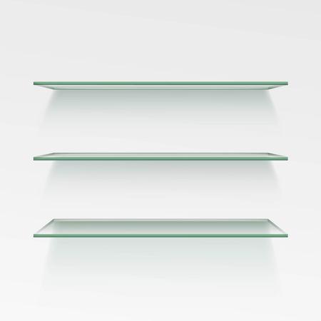 Empty Glass Shelf Shelves Isolated on Wall Background