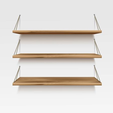 Empty Wooden Wood Shelf Shelves Isolated on Wall Background