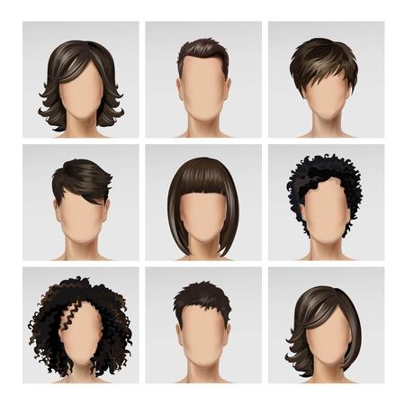 masculin: Ilustración de Multinacional Hombre Mujer Cara del avatar del perfil Jefes con pelos multicolores icono de imagen en conjunto aislado en el fondo