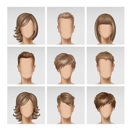 male female: Vector Illustration of Multinational Male Female Face Avatar Profile Heads with Multicolored Hairs Icon Picture Set Isolated on Background