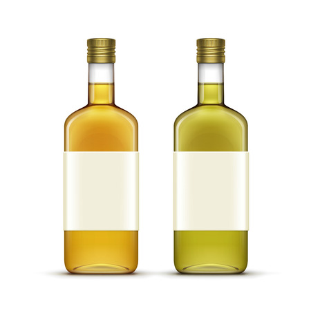 scotch whisky: Vector Set of Alcohol Alcoholic Beverages Drinks Whiskey or Sunflower Olive Oil Glass Bottles Isolated on White Background Illustration
