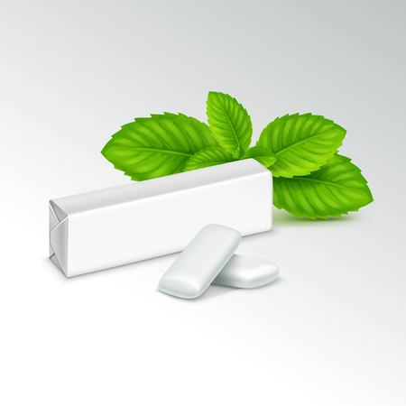 chewing: Pack of Chewing Gum with Fresh Mint Leaves Isolated on White Background