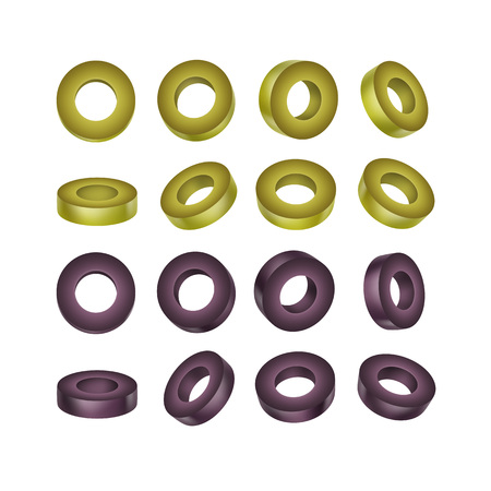 sliced: Vector Set of Black and Green Sliced Olives Isolated on White Background