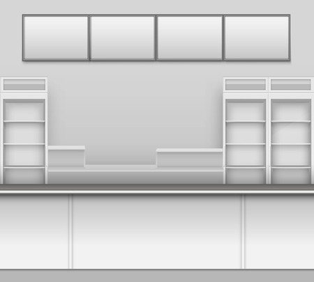 showcase interior: Grocery Store Bar Cafe Beer Cafeteria Fast Food Counter Desk Interior Exterior Showcase Illustration