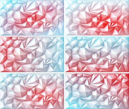 fondos violeta: Vector Conjunto de rosados ??rojos del Polígono abstracta geométrica poligonal Triángulo Multicolor Verde Amarillo Naranja Azul Fondos negro violeta Vectores