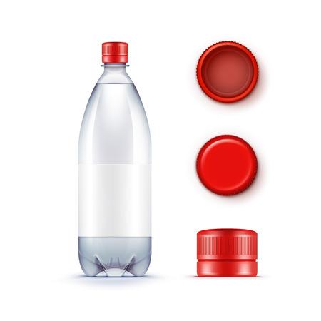 birretes: Vector blanco de la botella de plástico azul de agua con sistema de los casquillos rojo aislado en el fondo blanco