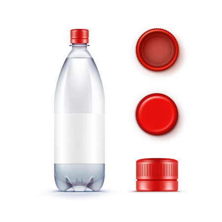 Vector Blank Plastic Blue Water Bottle with Set of Red Caps Isolated on White Background