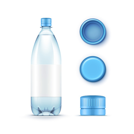 minerals: Vector Blank Plastic Blue Water Bottle with Set of Caps Isolated on White Background Illustration
