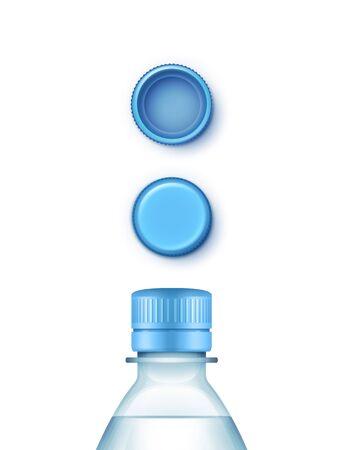 birretes: Ilustración de blanco de la botella de plástico de agua azul con el conjunto de las tapas aisladas en el fondo blanco