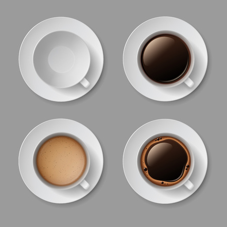 foam bubbles: Vector Set of White Coffee Cup Mug with Crema Foam Bubbles Top View Isolated On Background Illustration