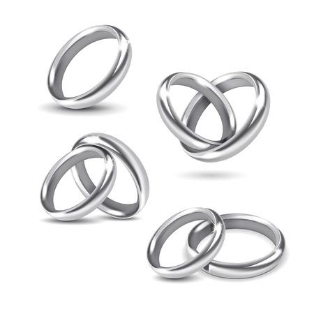 bodas de plata: Vector Conjunto de anillos de bodas de plata aislado en el fondo blanco