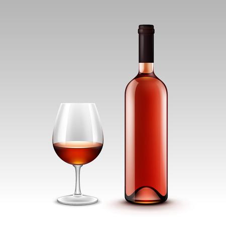 와인 병 및 안경의 집합이 배경에 고립