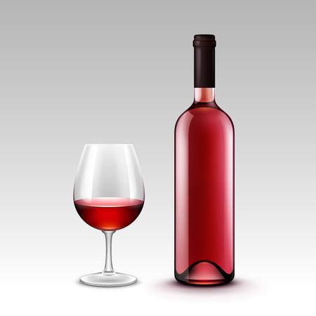 bouteille de vin: Vector Set de bouteilles et verres à vin isolé sur fond