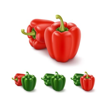 pimenton: Vector Conjunto de color verde y rojo dulces búlgaros pimientos, pimentón aisladas sobre fondo blanco