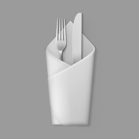 table setting: Vector White Folded Envelope Napkin with Silver Fork and Knife Top View Isolated on Background. Table Setting Illustration