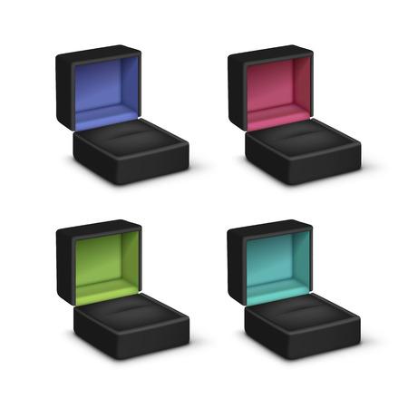 Vector Set of Empty Black Colored Velvet Opened gift jewelry boxes Close up Isolated on White Background Ilustração