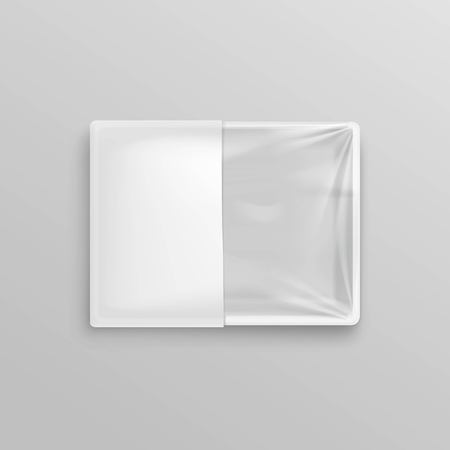 plastic wrap: Vector White Transparent Empty Disposable Plastic Food Container for package design Top View Close up Isolated on Background
