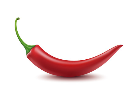 green pepper: Vector Red Hot Chili Pepper Isolated on White Background Illustration