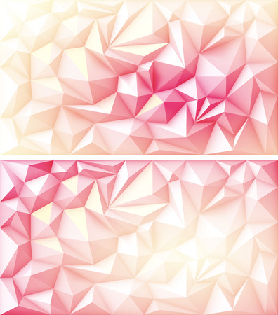Set of Polygon Abstract Polygonal Geometric Triangle Multicolored Red Pink Orange Yellow Ruby Backgrounds Illustration