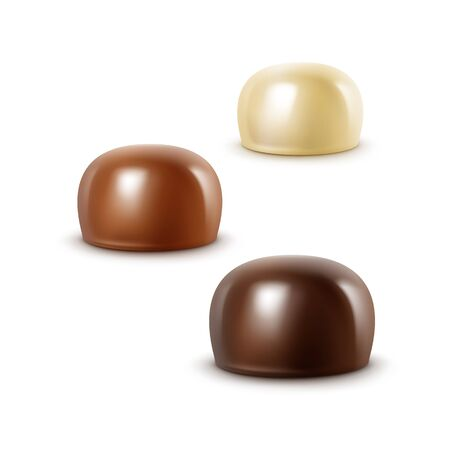 sherbet: Set of Realistic Black Dark Bitter White Milk Chocolate Candies in Various Shapes Isolated on White Background