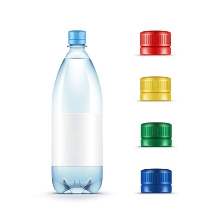 plastic bottles: Blank Plastic Blue Water Bottle with Set of Multicolored Red Yellow Green Caps Isolated on White Background