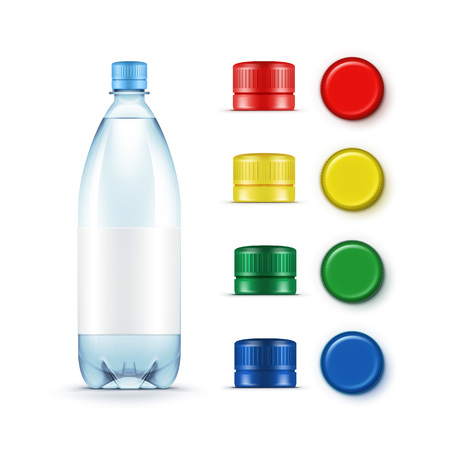 Blank Plastic Blue Water Bottle with Set of Multicolored Red Yellow Green Caps Isolated on White Background