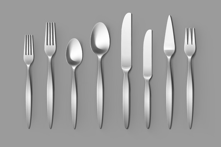 Cutlery Set of Silver Forks Spoons and Knifes Top View Isolated on Background. Table Setting