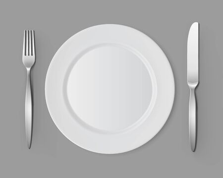 table setting: White Empty Flat Round Plate with Fork and Knife Top View Isolated on Background. Table Setting Illustration