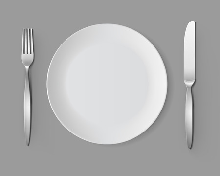 table setting: White Empty Round Plate with Fork and Knife Top View Isolated on Background. Table Setting