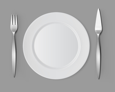 lunch table: White Empty Flat Round Plate with Fish Fork and Fish Knife Top View Isolated on Background. Table Setting