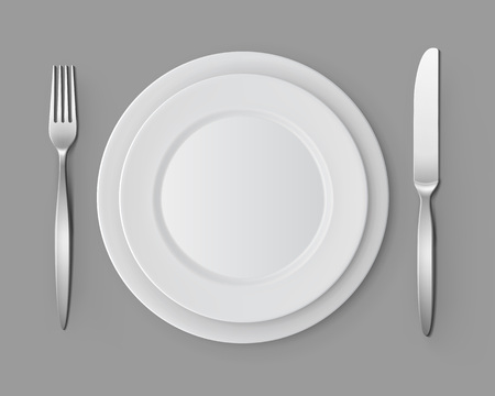 table setting: Set of White Empty Flat Round Plates with Fork and Knife Top View Isolated on Background. Table Setting